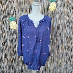 🌺 Liz Claiborne Sheer floral peep front tie blouse size XL